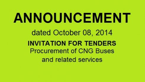 INVITATION FOR TENDERS Procurement of CNG Buses and related services