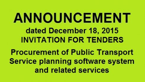 INVITATION FOR TENDERS Procurement of Public Transport Service planning software system and related services